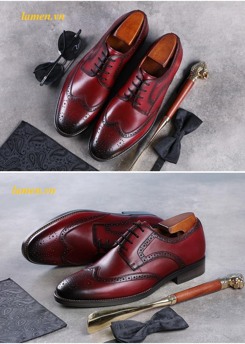 Giày da bò nam, giày nam công sở buộc dây cao cấp - 13