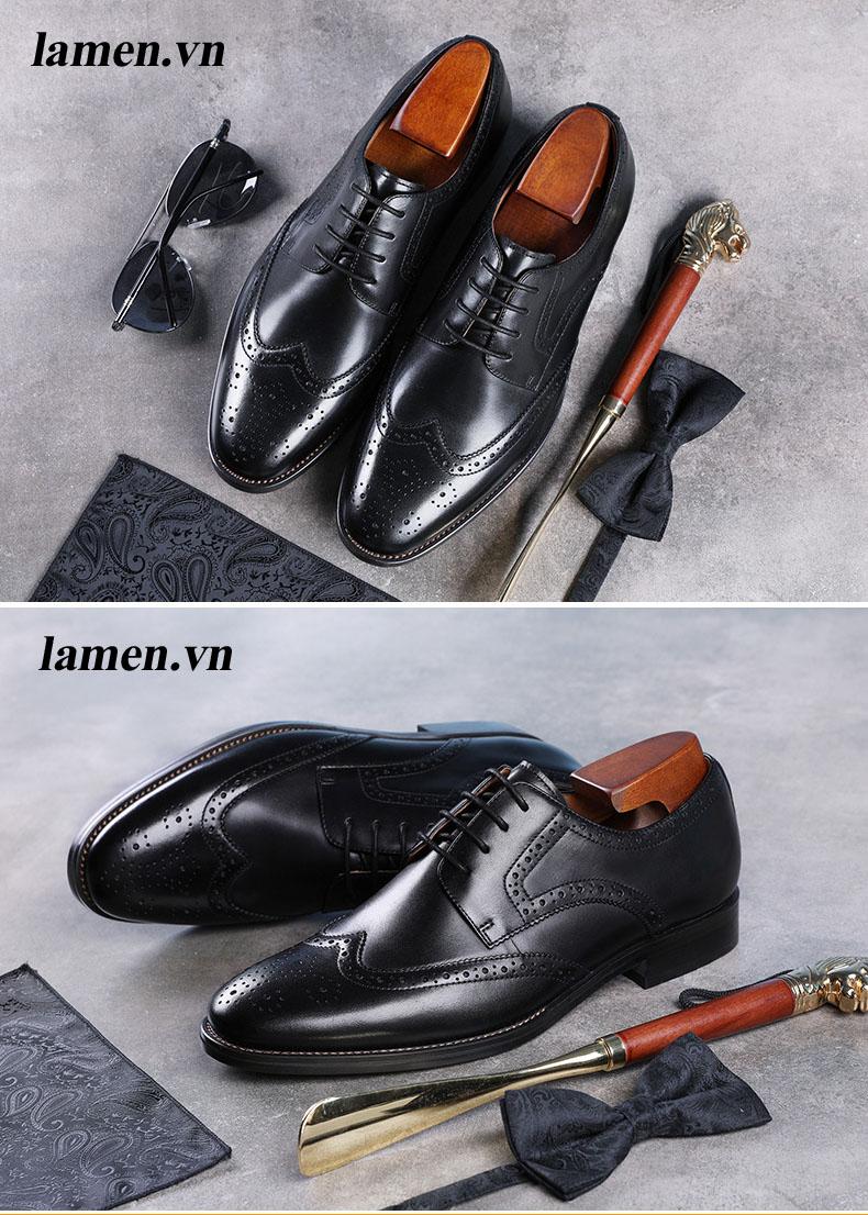 Giày da bò nam, giày nam công sở buộc dây cao cấp - 12