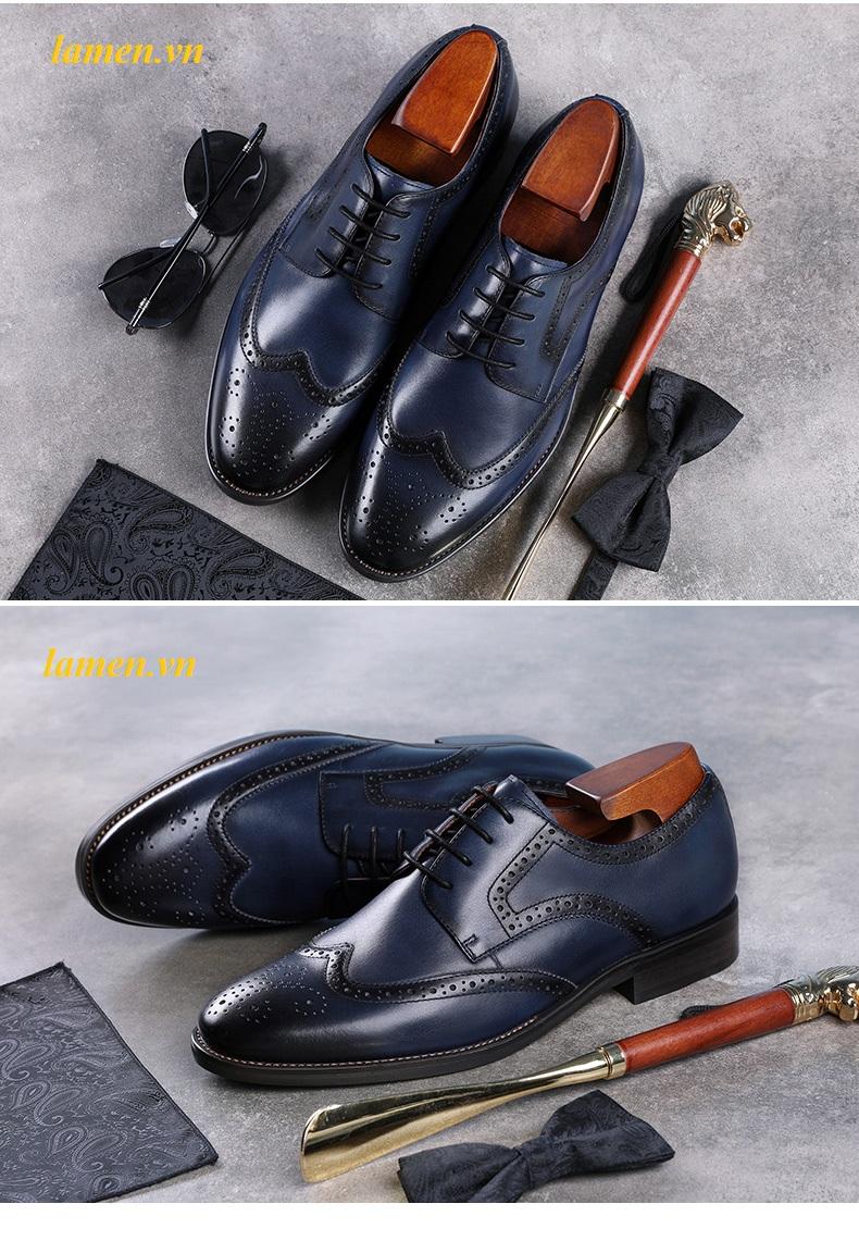Giày da bò nam, giày nam công sở buộc dây cao cấp - 14