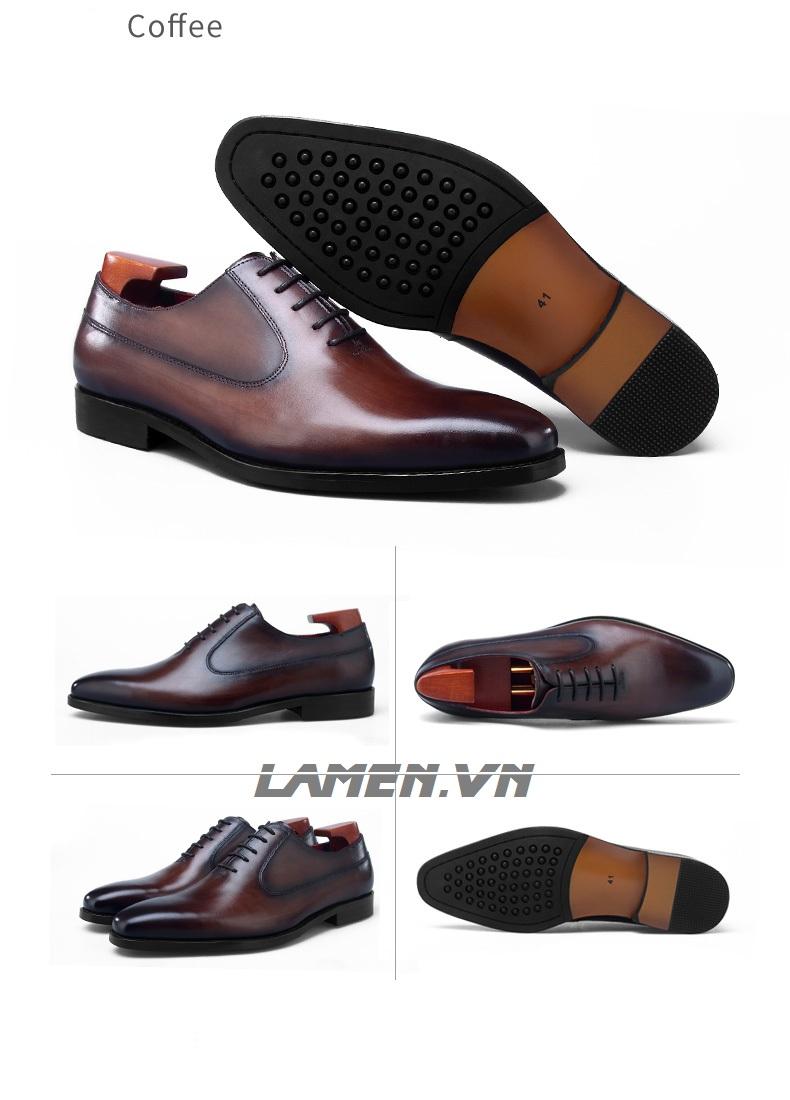 Giày da bò nam, giày nam công sở buộc dây cao cấp - 16