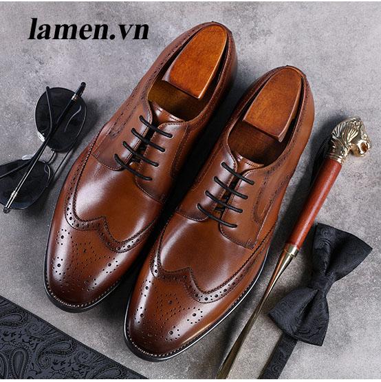 Giày da bò nam, giày nam công sở buộc dây cao cấp - 11